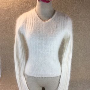J.Crew Angora Cream V Neck Sweater Small EUC